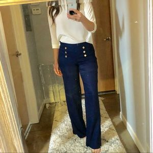 Lilly Pulitzer wide leg navy blue sailor pants